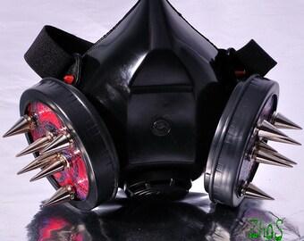 Cyber Mask Cyber Goth Respirator Black  Gas Mask BIOHAZARD SPIKES