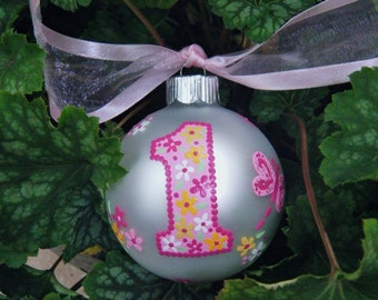 Butterfly Ornament - Baby's First Birthday - First Christmas Ornament - Hand Painted Personalized, Birthday Milestone, Baby's 1st Christmas