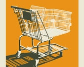 Shopping Cart - 11 x 14 orange silk screen print