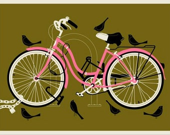 Girl Bird Bike 12 x 16 silkscreen