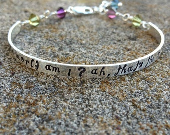 Whimsical Custom Stamped Sterling Demi Cuff - 12 FONT CHOICES - Endless color choices