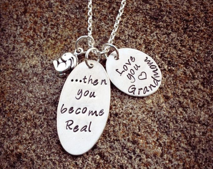 Then you become Real - Velveteen Rabbit Mother's Necklace - Solid Sterling Silver - Mothers Moms Graduate Meaningful Gift - Can Personalize!