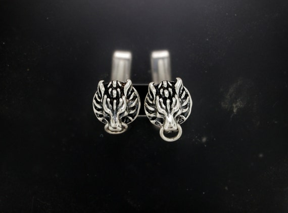 Cloud Strife Wolf Cuff Links in Sterling Silver