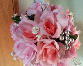 Large Wedding kissing ball/ Pomander Pink Roses, Baby's breath and silver berries