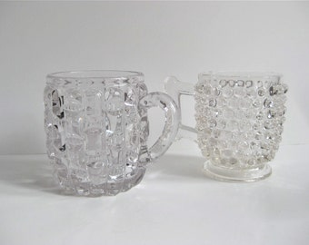 Pair of Glass Mugs / Hobnail / Quilted