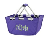 Purple market tote with personalized embroidery- great Easter basket
