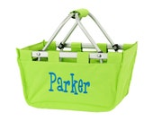 Lime Green market tote with personalized embroidery- great Easter basket