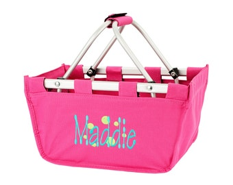 hot pink market tote with personalized embroidery- great Easter basket