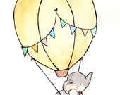 Fly Away Blue -- Portrait  Nursery Art, child wall art, boy nursery, girl nursery,bunny rabbit, elephant