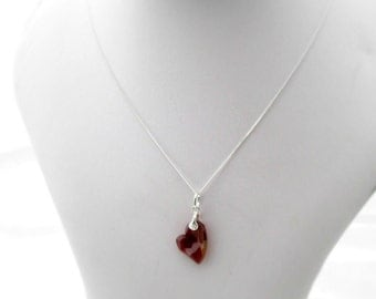 Valentine's Swarovski Heart Pendant  on Sterling Silver Chain