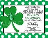 Saint Patricks Day Birthday Invitation 1st St Patrick's Day Birthday Invitations Printable or Printed