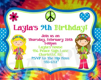 Tie Dye Birthday Invitation, 70's Birthday Invitation