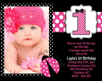 Pink Ladybug Birthday Invitation - Pink Ladybug Party Invitations - Printable or Printed