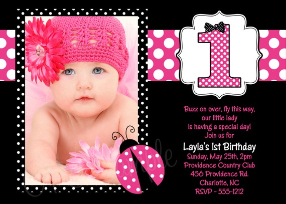 Items similar to Pink Ladybug Birthday Invitation Pink Ladybug – Ladybug Invitations 1st Birthday