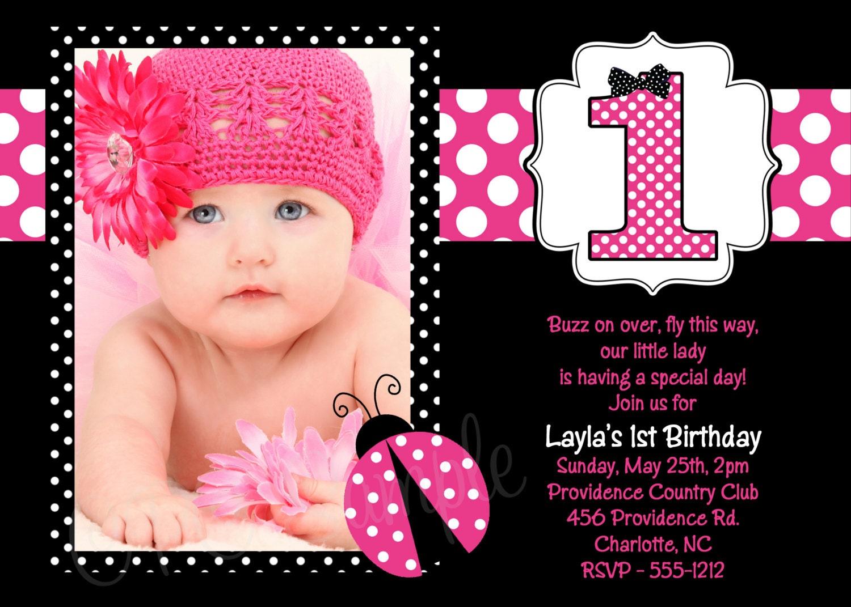 Wonderful 1st Birthday Ladybug Invitations Photos - Invitation ...