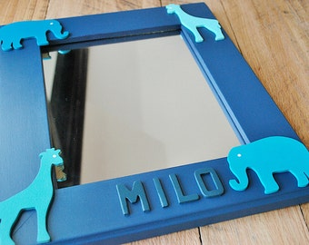 personalized mirror for kids wooden mirror for children hand painted wooden mirror