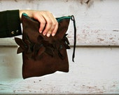 Leather Suede Clutch Brown Bag Turquoise Zipper and Flower Embellishments
