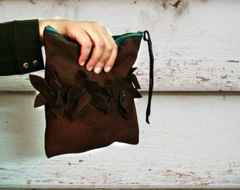 Leather Suede Clutch, Brown Bag, Turquoise Zipper and Flower Embellishments