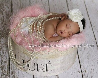 baby headband, newborn headbands, ivory flower headband, infant