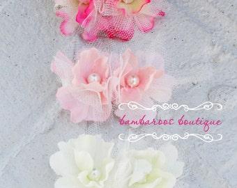 Flower girl hair clip, alligator clip, vintage hair clip, baby hair clip, ivory flower clip