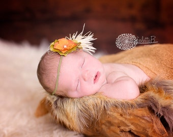 vintage baby headband, feather newborn headband