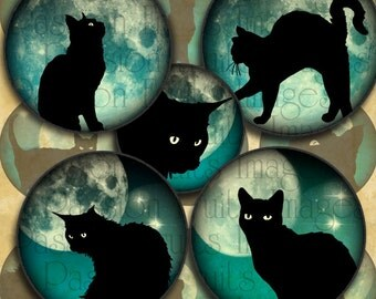Black Cats on Teal Moonlit Skies 1 inch Circles Halloween Digital Collage Sheet--Instant Download