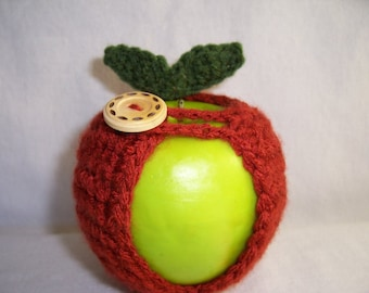 Handmade Crocheted Apple Cozy - Crochet Apple Cozy in Terra Cotta Color
