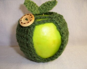 Handmade Crocheted Apple Cozy - Crochet Apple Cozy in Thyme Color
