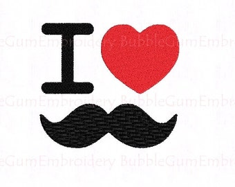 I Love Mustache Embroidery Design Instant Download