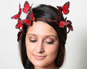 Red Butterfly Crown - wedding, bride, fantasy, woodland