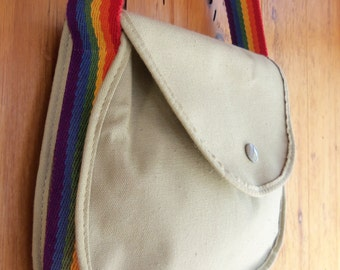 70s AVON COLORWORKS--Rainbow-Strap Canvas Satchel--Military Style