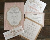French Baroque Wedding Invitation sets,Fleur de Lis Wedding Invites, French Wedding Invitations, Custom Modern Vintage Wedding Invitations