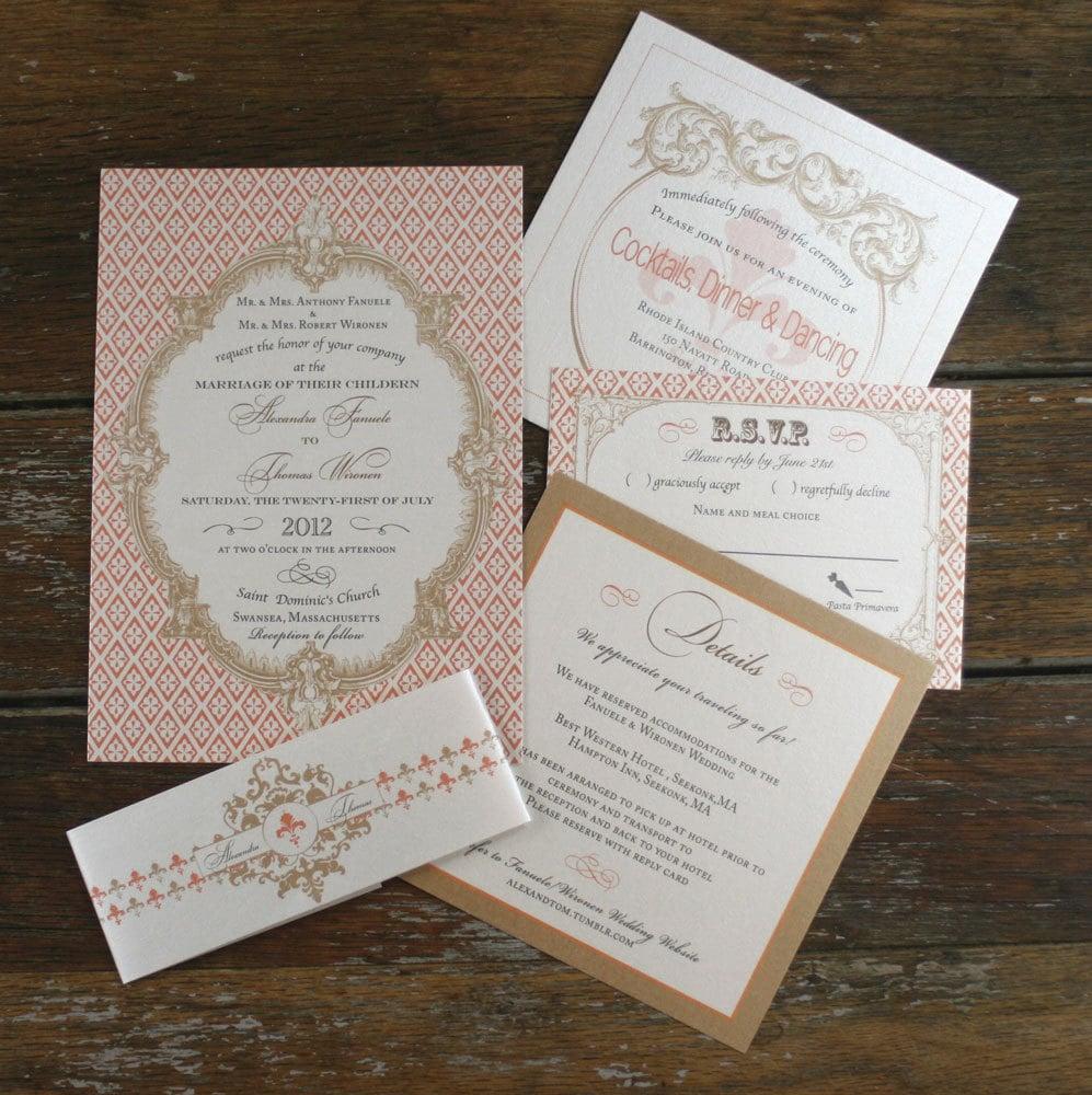 French Vintage Wedding Invitations: French Baroque Wedding Invitation Vintage Brights 1