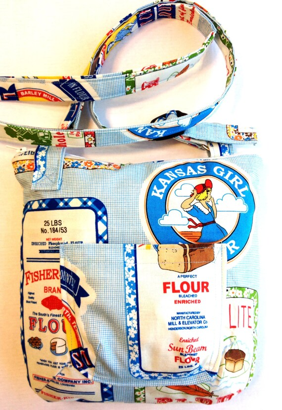 Cross Body Bag,Vintage Flour Sac Designer Fabric, Adjustable Strap