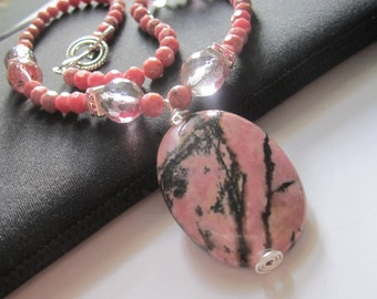 Beaded Gemstone Necklace Pink Rhodonite Pendant Necklace with Crystals