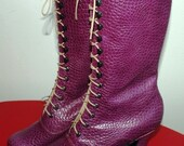 Victorian Boots Ankle Boots Purple croco stamped leather ORDER you size for wider feet and strong calf
