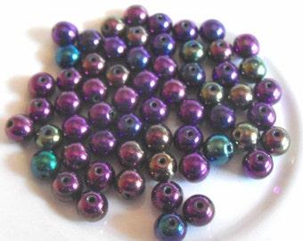 Purple Iris Lustre Glass Ball Beads, 6mm (25)