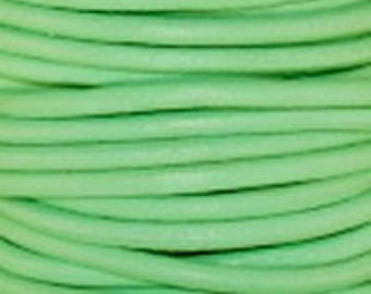 1mm Round Leather Cord Mint Green : 2 yards 1.83m