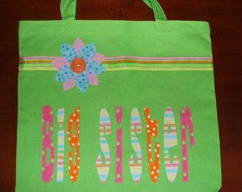 """Large Personalized """"Big Sister"""" Tote with Ribbon & Flower Applique"""