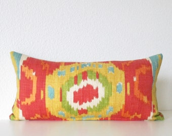Decorative mini lumbar pillow cover - 8x16 -  Red - Green - Turquoise - Ikat Pillow