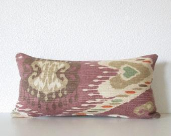Mini pillow cover - purple - Taupe - Cream - 8x16 - Ikat - Cushion cover