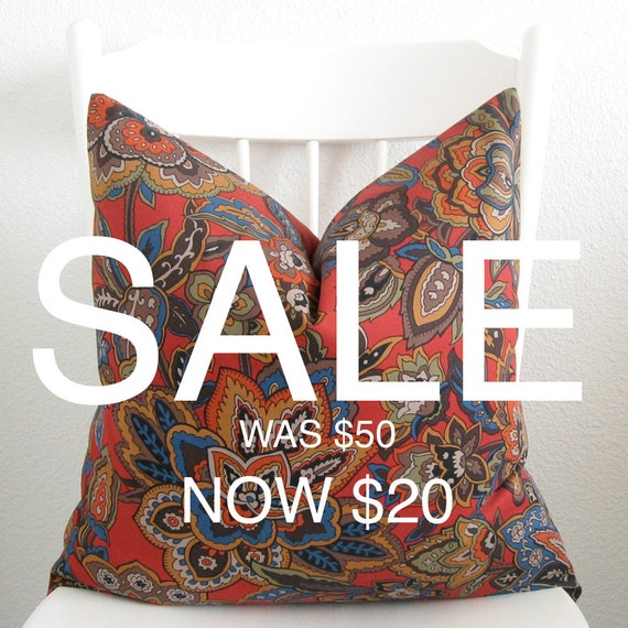 SALE - Decorative pillow cover - Throw pillow - 20x20 - Tangerine tango - Red - Orange - Blue - Brown - Green - Floral