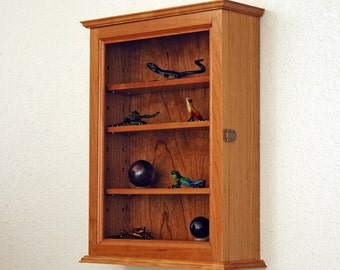 Cherry Curio Display Case Wall Cabinet