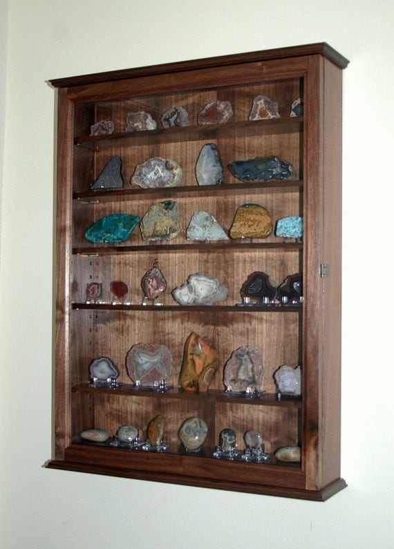 Mineral rock geode display case wall cabinet for Mineral wall