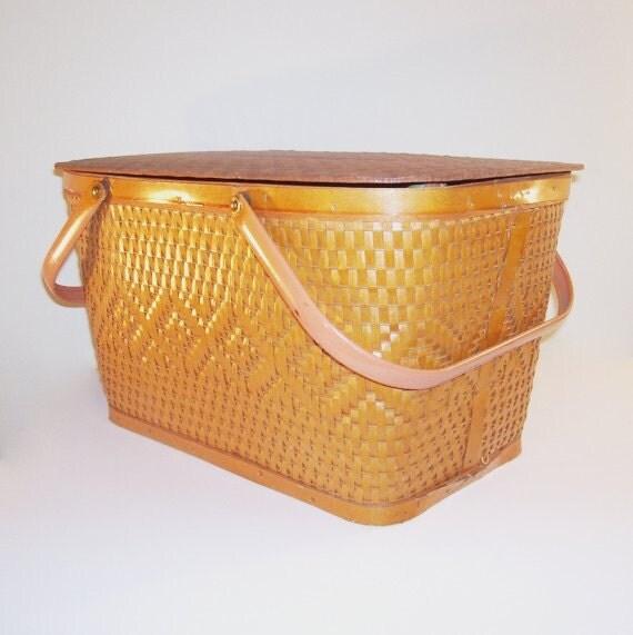 Vintage Picnic Basket Red-Man Woven Rustic Storage Diamond Pattern Brown Weave