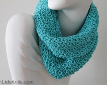 Cotton Hand Knit Cowl - Turquoise