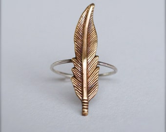 Stacking Rings-Brass Feather-Coachella Jewelry