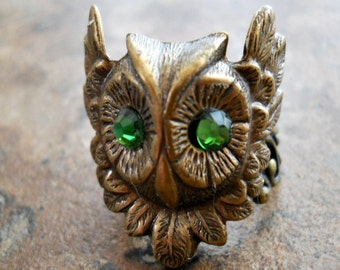 Mr Owl Enchanted Steampunk Brass Ring, Brass Owl Ring with Swarovski Eyes
