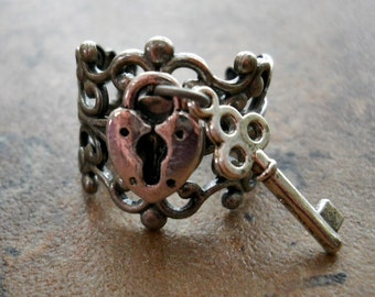 Heart Lock and Key Ring, Silver Lock Ring, Lock Ring, Silver Heart Ring, Heart Lock and Key