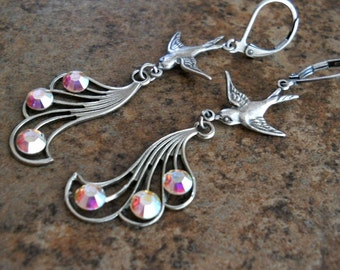 Birds of a Feather Earrings in Silver, Exclusive Design by Enchanted Lockets